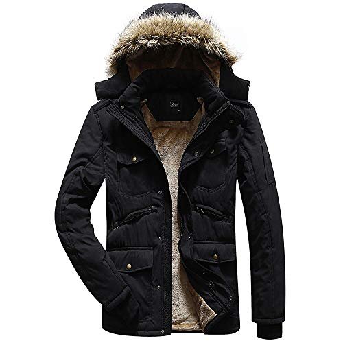 Korago Mens Winter Fleece Coat with Multi Pockets Black Large