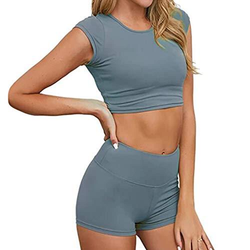 Toimothcn Womens Lightweight 2 Piece Sports Outfit Tracksuit Shirt Shorts Jogger Sportswear Set Activewear(Gray,XX-Large)