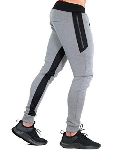 KEFITEVD Men Pants Casual Slim Fit Elastic Waistband Joggers Big and Tall Cotton Sport Gym Sweatpants Gary Light Gray