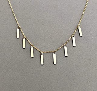 Eight Vertical Bar Necklace in Gold Fill, Sterling Silver, and Rose Gold Fill