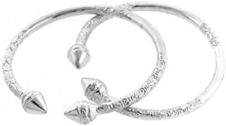Better Jewelry Spear .925 Sterling Silver West Indian Bangles (Pair) (MADE IN USA)