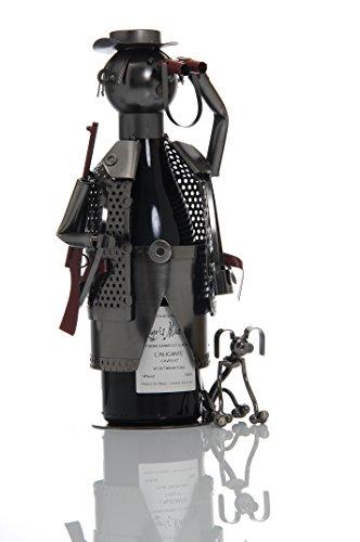 LUDI-VIN - Porta bottiglia in metallo, cacciatore e cane