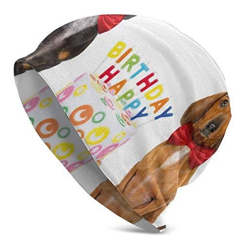 Gorro para Hombre y Mujer - Pareja de Perros Salchicha con Lazo con Tarta de Feliz cumpleaños y Sombreros de Cono de Fiesta - Gorro Unisex con puños Lisos de Punto de Calavera