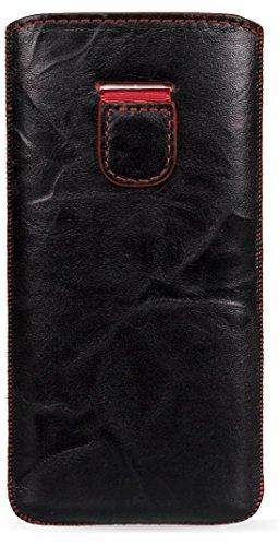 MediaDevil HTC One M8 (2014) Lederhülle (Schwarz mit roten Nähten) - Artisanpouch Hülle aus echtem europäischen Leder mit Ausziehlasche
