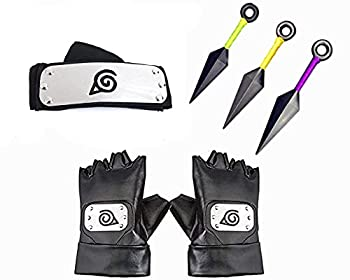 Ouye Anime Headband and Cosplay Gloves Kakashi Ninja Gloves Cosplay Accessories Headband 5 Pieces  Cosplay Party Accessories Black