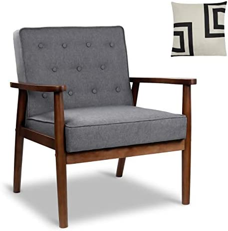 Best Mid-Century Retro Modern Accent Chair Wooden Arm Upholstered Tufted Back Lounge Chairs Seat Size 24.