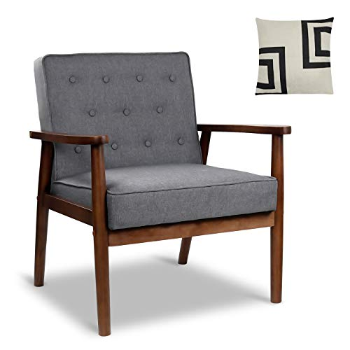 Mid-Century Retro Modern Accent Chair Wooden Arm Upholstered Tufted Back Lounge Chairs Seat Size 24.4' 18.3' (Deep) (Grey Fabric)