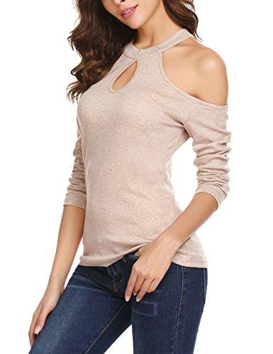 trudge damska koszulka z długim rękawem bez ramiączek, podstawowa bluzka casualowa, top, top, top, top, na jesień, zimę, wąska, z paskami Cold Shoulder luźna tunika