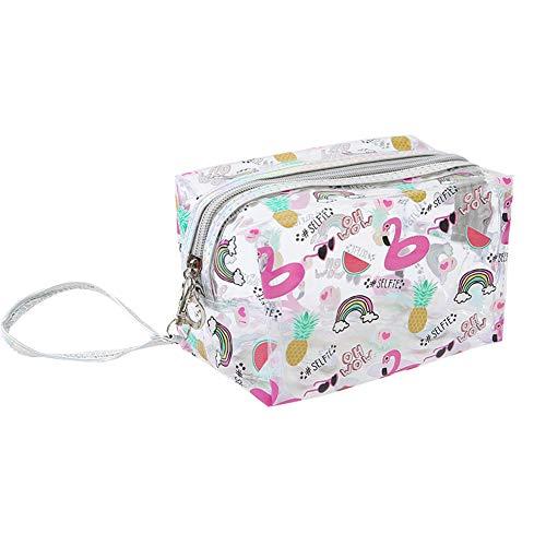 JooNeng - Neceser transparente con correa de mano, bolsa organizadora de artículos, cremallera y dibujos monos, sirve para llevar cosméticos, maquillaje y artículos de aseo o como estuche Flamingo