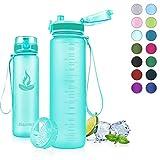 Baomay Botella de Agua Deportiva 750ml, Adultos/Niños Bottle con Filtro, Bidon de Bebidas Plástico Tritan, para Gimnasio, Ciclismo, Trekking | Sin-BPA & Impermeable & Reutilizable (Menta)