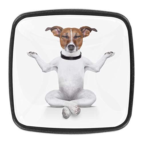 Perro de yoga sentado con los ojos cerrados Perillas de gabinete 4 pcs Round Knobs Knobs Tiradores de puerta de de con tornillos para la cocina de cajón de gabinete