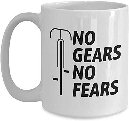 Fixie Koffie Mok - Fixed Gear Fiets Rider Gift - Geen Gears Geen angsten - Track Bike Lovers - Fietsen Gift