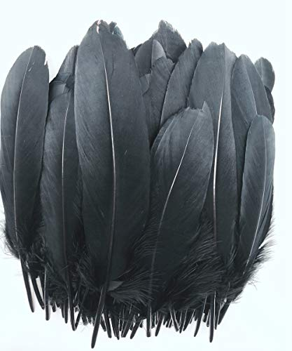 100pcs 6-8 inches Black Dyed Natural Goose Feathers for Crafts DIY Wedding Party Decoration Accessories (Black)