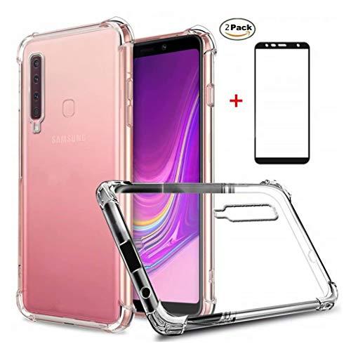 Samsung Galaxy A9 2018 Hülle Ttimao Weiche Transparent TPU Silikon Luftpolster Design Drop Protection Ultradünne Anti-Schock Anti-Scratch Schutzhülle+2*Hartglas Glas Bildschirm Schutzfolie