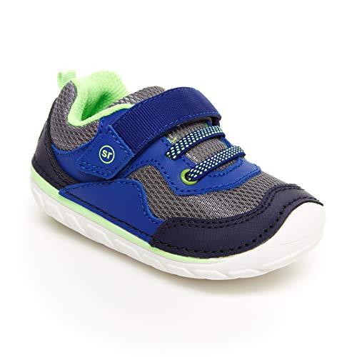 Stride Rite baby boys Sm Rhett Sneaker, Navy/Lime, 5.5 Wide Infant US