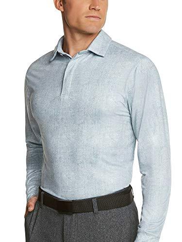 Three Sixty Six Men's Dry Fit Long Sleeve Polo Golf Shirt, Moisture Wicking, UPF 30 and 4 Way Stretch Metallic White