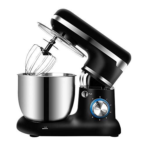 Keukenrobot voor Bakken 5L Roestvrijstalen Kom 6 Speed Elektrische Keuken Voedselmixer met Deeghaak, Draadzweep & Klopper 1500W