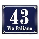Numero Civico Esterno con Indirizzo - 20x25 cm - Targhe Personalizzate in ceramica - Blu