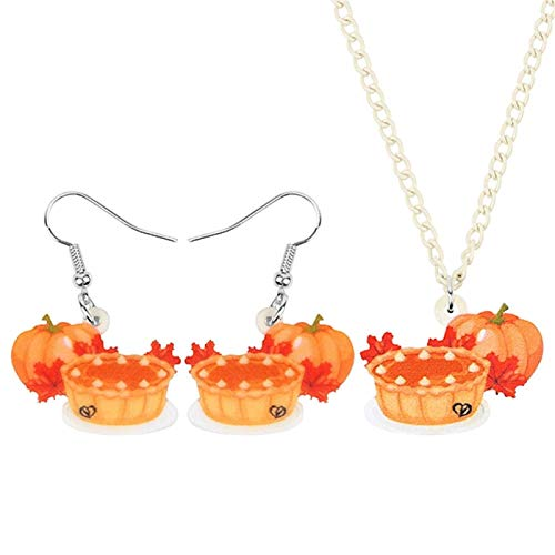YGDH Acrylic Thanksgiving Anime Pumpkin Pie Cake Jewelry Set Necklace Earrings Decorations For Women Girls Teen Gift (Color : Multicolor)