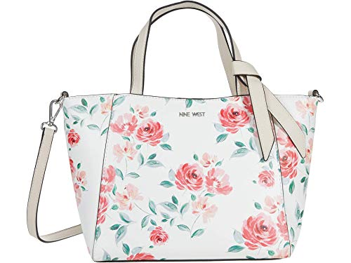 Nine West Lexie Small Trap Tote White Floral One Size