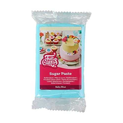 FunCakes Pasta di Zucchero Baby Blue: facile da usare, liscia, flessibile, morbida e pieghevole, perfetta per decorare torte, halal, kosher e senza glutine. 250 gr