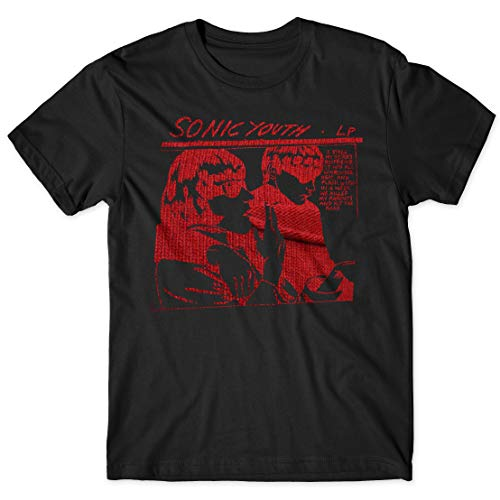 LaMAGLIERIA T-Shirt Uomo Sonic Youth - Red Texture Maglietta Musicale Indie Rock Band 100% Cotone, XXL, Nero