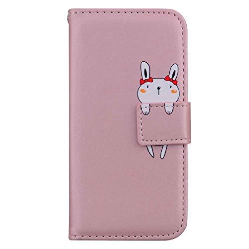 Skyhewen Samsung Galaxy A12 Hülle, Schutzhülle PU Leder Flip Wallet Cute Hülle für Frauen Mädchen mit [Kickstand] [Magnetverschlus] [Kartenhalter] [Tiermuster] für Samsung A12, Rosegold und Hase