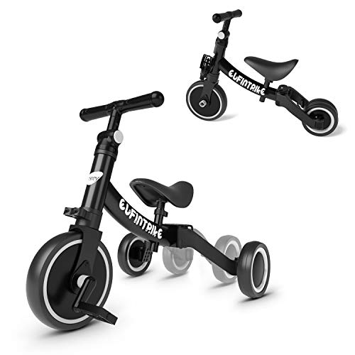 besrey 5 in 1 Toddler Bike for 1-3 Years Old Kids, Toddler Tricycle Kids Trikes Tricycle Ideal for Boys Girls, Black