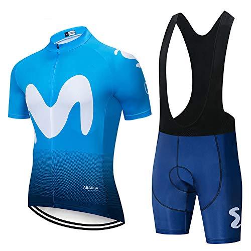 W&TT Herren Schnell trocknende Kurzarm Radtrikot Set Straße Fahrradhemd + 3D-Gel gepolsterte Trägerhose MTB-Reitoutfit Uniformkleidung (XS ~ 5XL),Blue a,XL