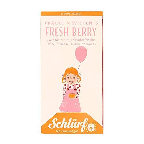 Schlürf, Büdel Fräulein Wilkens Fresh Berry, Bio-Früchtetee mit dem Geschmack von frischen Beeren, 45g (20 x 2,25g)