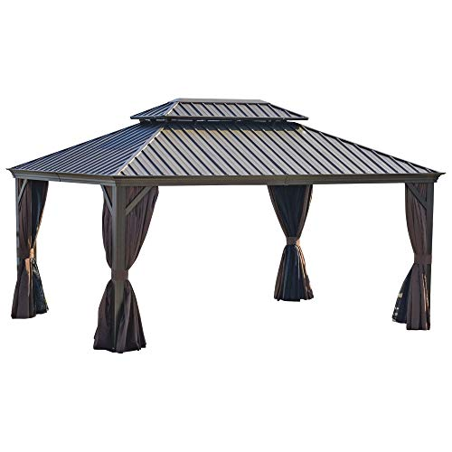 Outsunny 16' x 12' Hardtop Patio Gazebo Canopy Outdoor Pavilion with Galvanized Steel Frame, Netting Sidewalls, Curtains, Brown