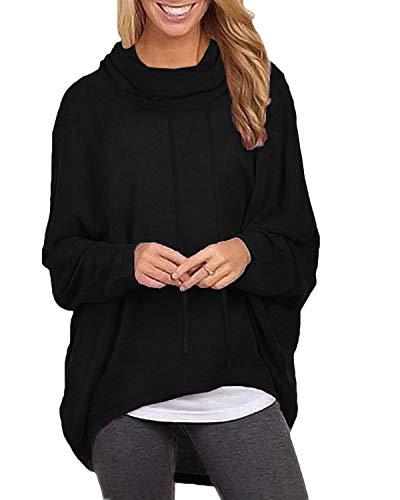 ZANZEA Sudaderas Mujer Cuello Alto Camiseta Manga Larga Irregular Pullover Color Sólido Jersey X-Negro Cuello Alto 2XL