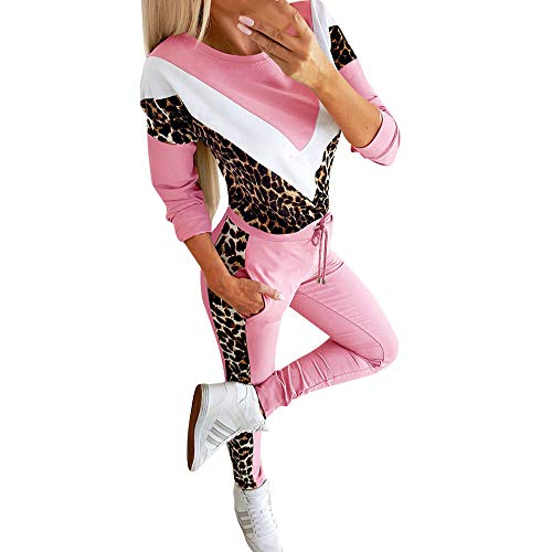 FORH Damen Mode 2 Stück Set Outfits langarm Streifen Crop Top Trägerlos T-shirt +Reizvolle Bodycon Paket Hüfte Hosen Beiläufig Outfit Sport bekleidung (M, Leopard Pink)