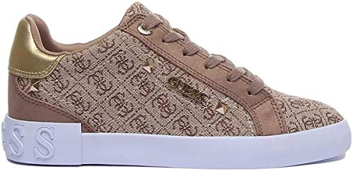 Guess Scarpe Donna Sneaker Puxly in Tessuto/Ecopelle Scamosciata Beige/Brown DS20GU13