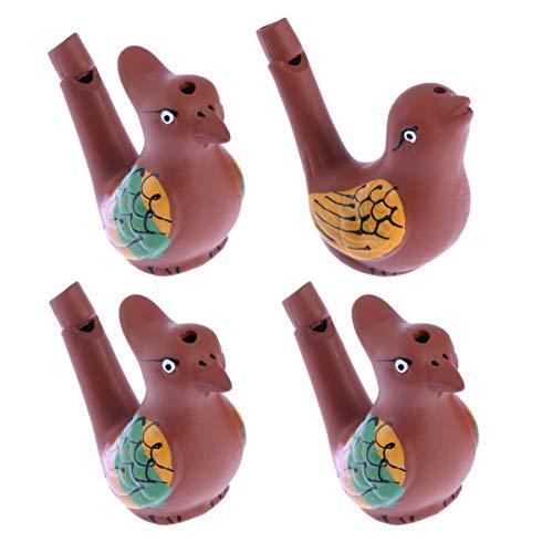 Kisangel 4 Piezas de Cerámica Creativa Agua Pájaro Silbatos Juguete para El Baño del Bebé Juguetes Musicales Dibujo de Colores Warbler Canción Chirridos de Cerámica para Niños ( Estilo