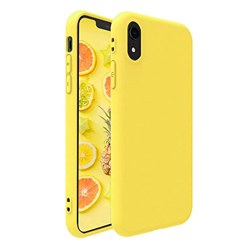 Pelipop iPhone XR Case, Colorful Yellow Slim Fit Anti-Scratch Soft TPU Gel Silicone Skin Frosted Protective iPhone Cover for iPhone XR(Yellow)