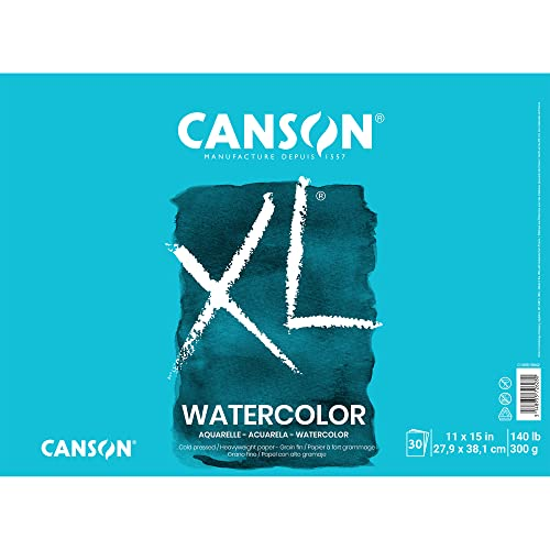 Canson 7022446 XL Series Watercolor Textured Paper Pad for Paint 140 Pound, 11' x 15' Fold Over, 30 Sheets