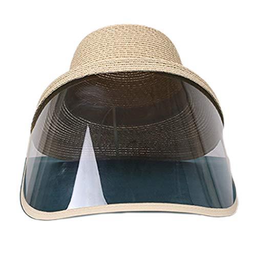 WEDFTGF Cappello da spiaggia con paglia antispitting paraspruzzi protezione viso anti-appannamento Saliva antipolvere Maschera Pescatore Cap