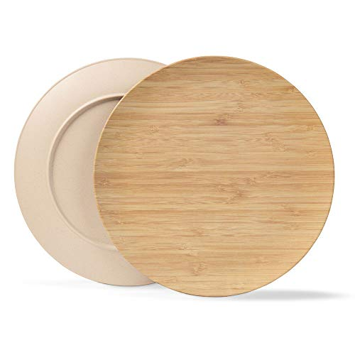 BIOZOYG Nachhaltiges Tellerset I Kinderteller Campingteller Holzteller Kuchenteller Speiseteller Bambusgeschirr I 4 Stück Bambus Teller flach rund 25,5 cm Elfenbein, BPA frei