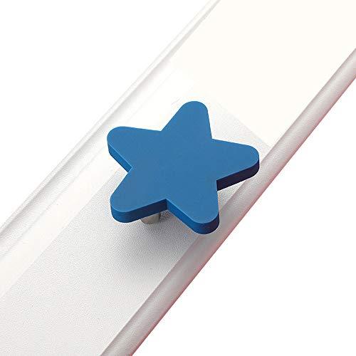 Tirador de tocador para niños, superestrella azul, bonitos botones de cajón, tirador de armario con goma suave de seguridad, para dormitorio, para niños y niñas, 1 pieza (L-Estrellas azules)