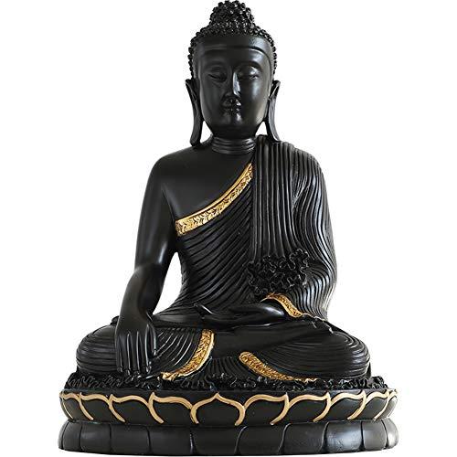 Shakyamuni Buddha Statue Decorative,Buddha Meditating Peace Statue,Sculpture for Home Zen Gifts&Decor Black A 14inch