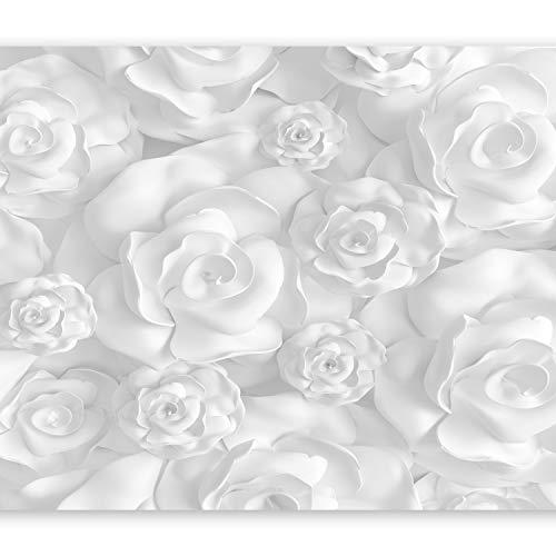 murando Fototapete Blumen 3D Effekt 350x256 cm Vlies Tapeten Wandtapete XXL Moderne Wanddeko Design Wand Dekoration Wohnzimmer Schlafzimmer Büro Flur grau weiß Optik b-B-0282-a-a