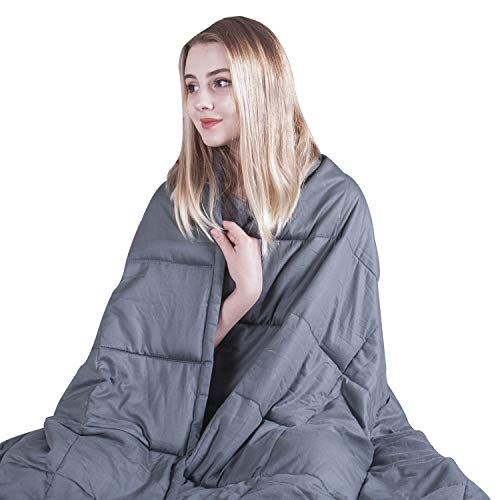 COMHO Weighted Blanket Cotton Cooling Heavy Blanket 20 lbs,60''x80'',Queen Size