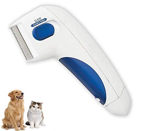 Pettine pulci per animali domestici – Rimozione dei pidocchi animali domestici Pulizia come visto in TV Pettine elettronico per cani e gatti, silenzioso