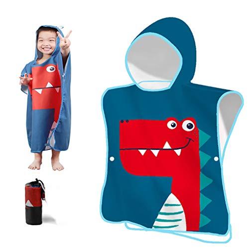YZCX Toalla de Playa para Niños Niñas Toalla de Baño con Capucha Bata de Baño de Microfibra de Dibujos Animados para Bañarse Nadar (Dinosaurio Azul)