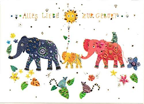 Glückwunschkarte zur Geburt - hochwertige Umschlag-Karten von Turnowsky: Elefanten Familie mit Baby