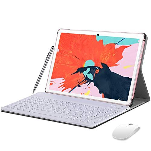 Tablet 10' 4G LTE Android 10 Tablet con teclado, 4GB RAM + 64GB ROM, 128GB ampliable, Quad Core, certificación GMS Tablet PC con Dual SIM, 8000mAh batería OTG, WiFi, GPS, Bluetooth