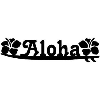 nc-smile ハワイアン ステッカー サフボード アロハ Aloha ハイビスカス (ブラック)