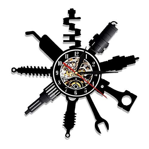Reloj de Pared con Registro de Vinilo,1 Pieza,Herramienta de reparación de chuletas de Garaje,Servicio de Coche,Reloj de Pared,decoración para el hogar,reparador,Regalo-1