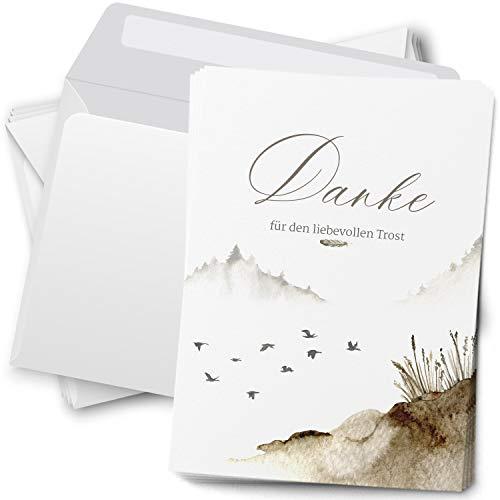 Trauer Danksagungskarten mit Umschlag | Motiv: Vogel Feder Aquarell, 15 Stück | Dankeskarten DIN A6 Set | Trauerkarten Danksagung Danke sagen